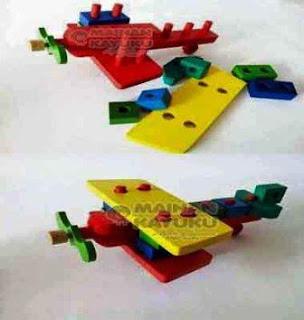 Mainan Kayu Balok Pesawat