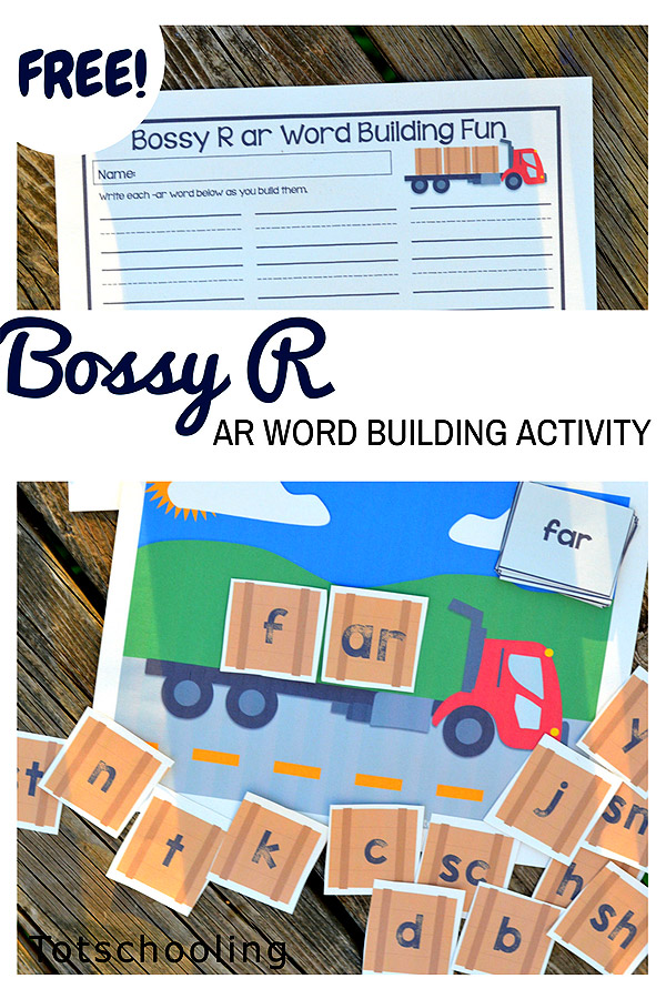 "FREE printable for kids to build words in the -ar family which have the ""Bossy R"". Also includes a recording sheet. Great activity for kids learning to read and write!"