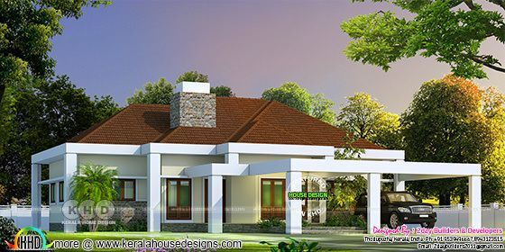 Sloped roof Kerala home bungalow