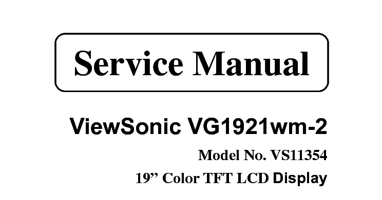 MAITEC Audio y Video: Manual de servicio VIEWSONIC