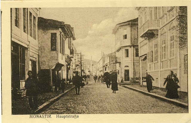 "Shirok Sokak (The main street in Bitola) around 1915. Look toward north. The photo is made from the location of current Bar-Restaurant ""Korzo"". Most of the houses in the foreground of this photograph were destroyed by bombing in the years 1916-1918."