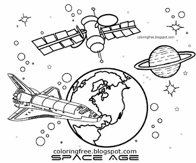 NASA School image straightforward to sketch earth largest satellite Skylab orbit space coloring book