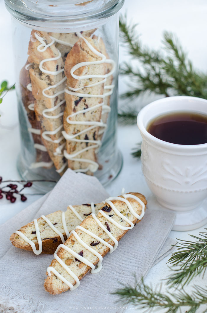 A simple and delicious Christmas cookie recipe for Cranberry Pistachio Biscotti plus over 15 more holiday baking recipes.  |  www.andersonandgrant.com
