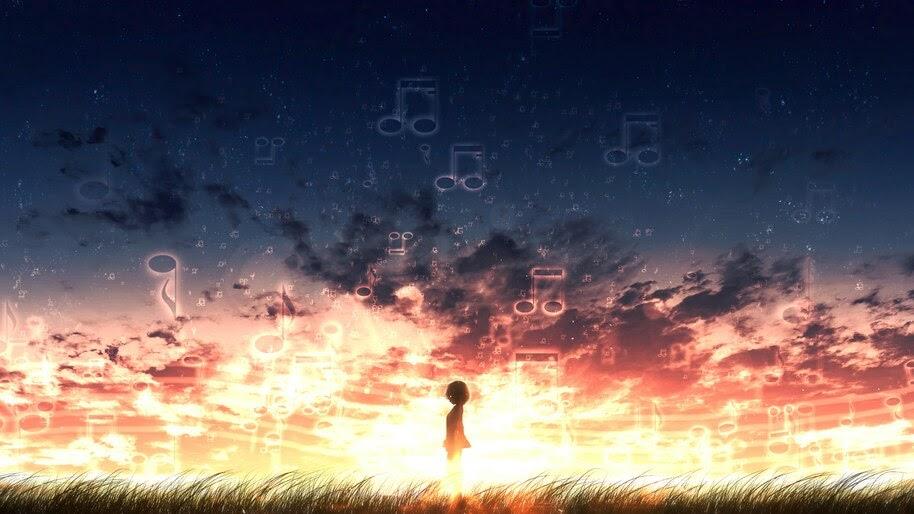 Musical Note, Anime, Sunset, Scenery, 4K, #6.996 Wallpaper