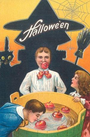 Vintage Halloween Card, Bobbing for Apples