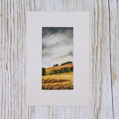 Scottish Borders harvest landscape watercolour painting