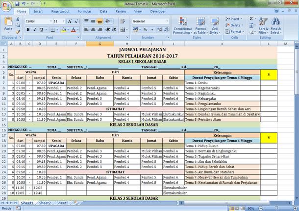 Jadwal Pelajaran Kurikulum 2013 SD-MI dan Alokasi Waktu Tema Format Microsoft Excel