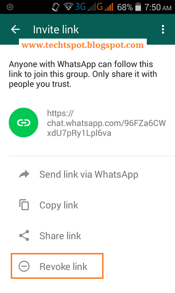Deactivate WhatsApp Group Join Invitation Link