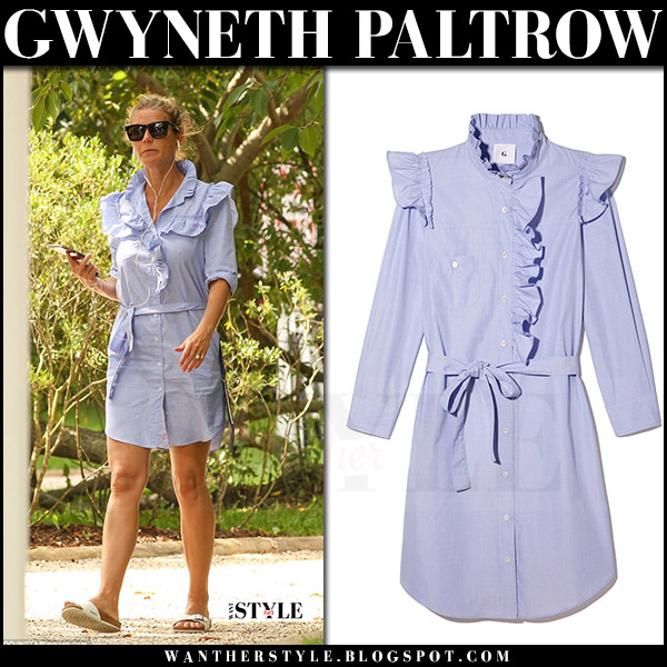 Gwyneth Paltrow in blue mini shirt dress goop label what she wore summer style 2017