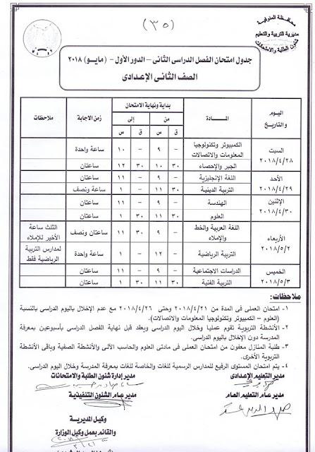 جدول امتحانات آخر العام 2018 ابتدائي واعدادي وثانوي الفصل الدراسي