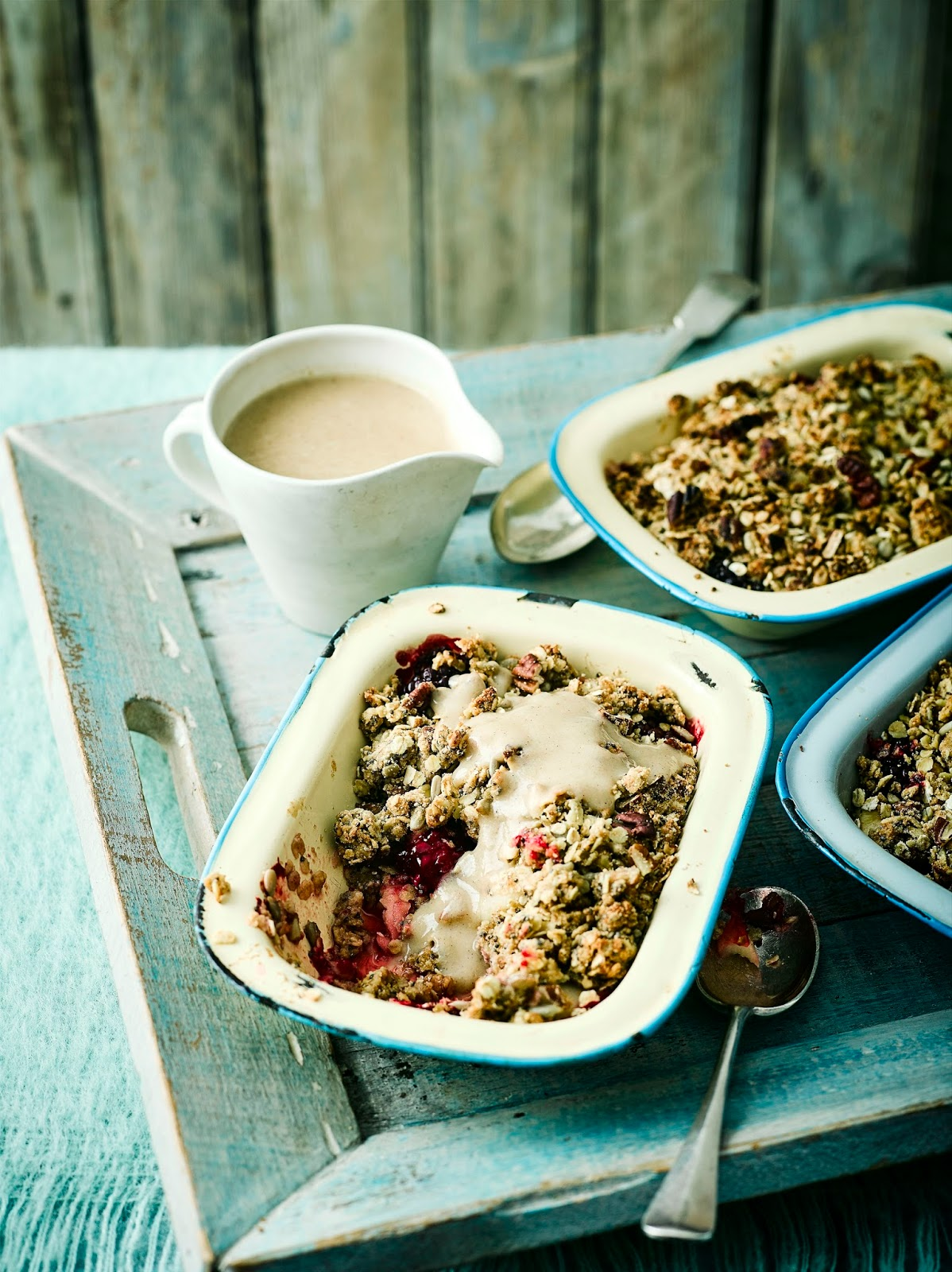 Apple And Blackberry Breakfast Crumble With Pear And Cinnamon Custard