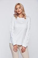 Bluza dama PrettyGirl alba office eleganta maneci incretite