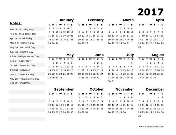 Printable Calendar 2016: 2017 Printable Calendar Blank Templates ...