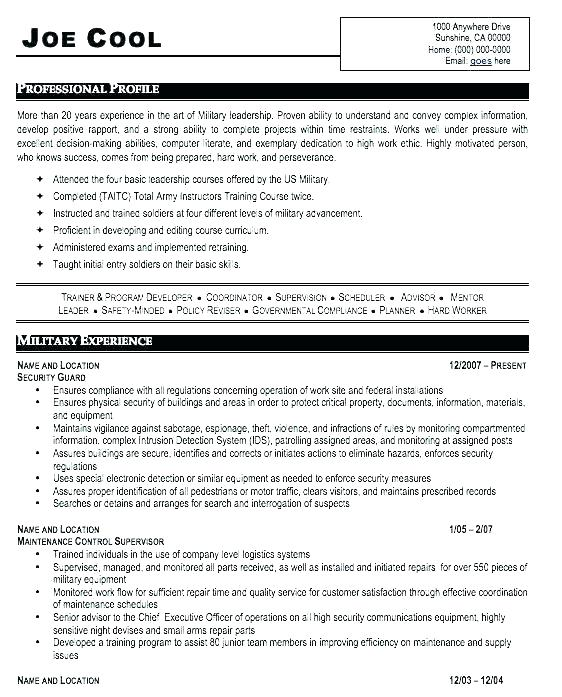 Military Veteran Resume Examples Builder For Army To Civilian