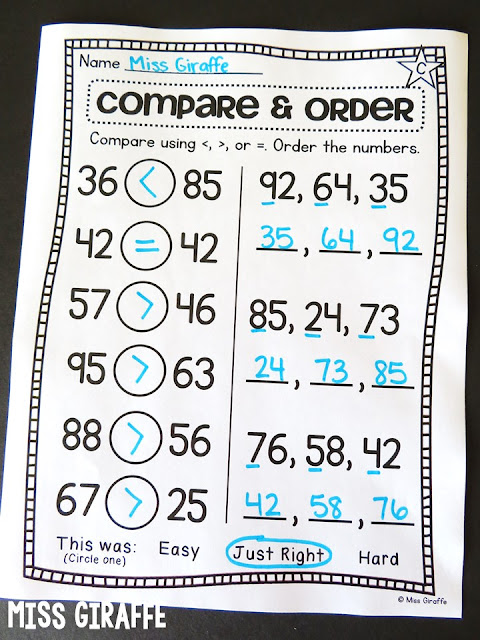 Comparing numbers and ordering numbers worksheets to practice putting numbers in order and using greater than less than equal to symbols in first grade math