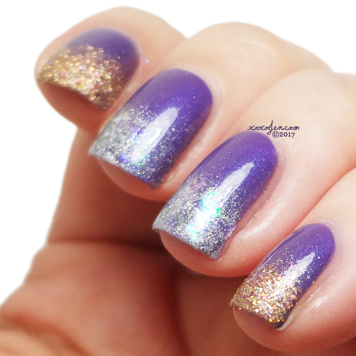 xoxoJen's swatch of Road to Polish Con Week 1 French Gradient Nail Art