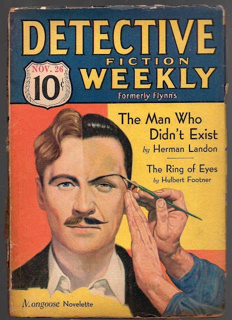 Inspiration for the Batman villain, Two-Face, perhaps Detective Fiction Weekly, November 26, 1932, Cover artist not known