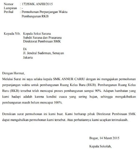 Contoh Surat Permohonan Perpanjangan Waktu Pembangunan Proyek Sekolah Ruang Laboratorium atau kelas