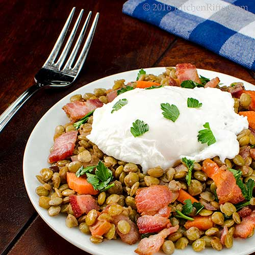 Warm Lentil Salad with Bacon