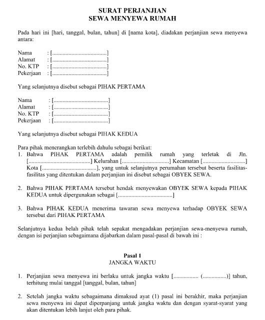 Contoh Surat Perjanjian Sewa Menyewa Ruko, Rumah, Toko, Kios atau Tempat Usaha yang Resmi Format Word  Doc
