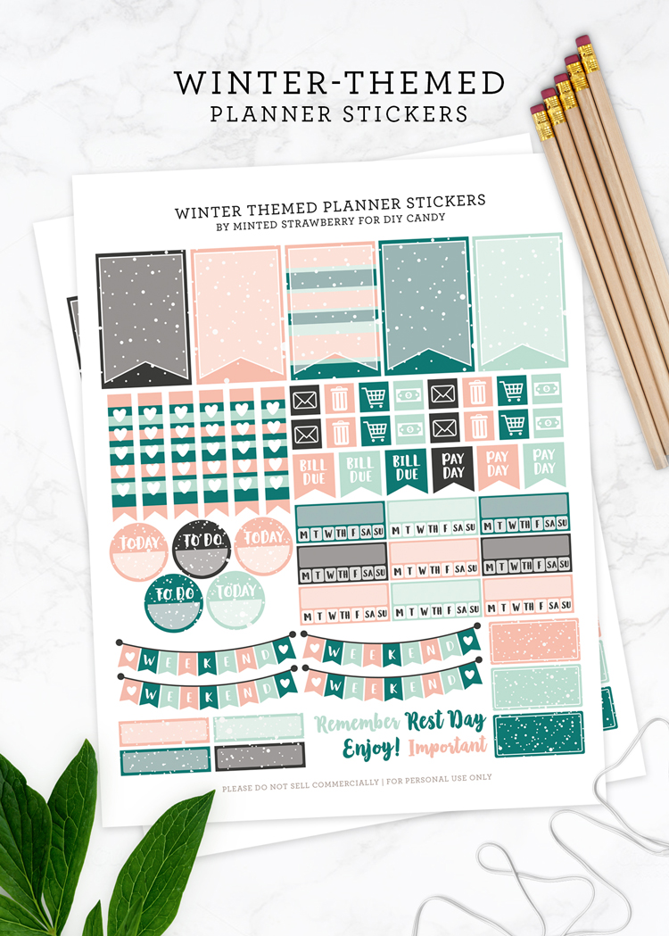 winter themed planner stickers at DIY Candy