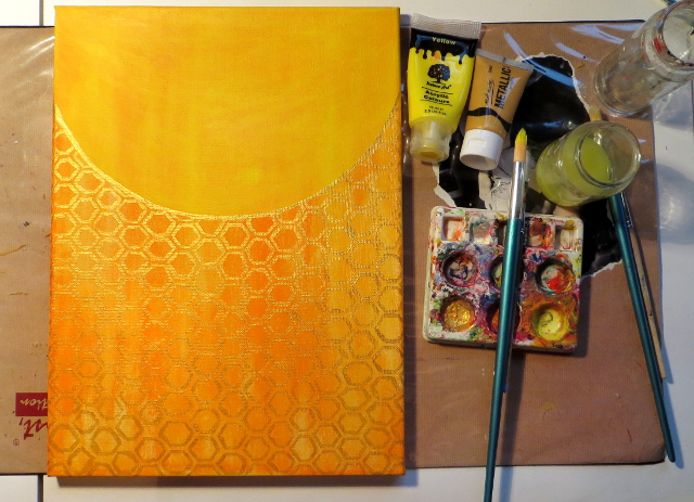 orange and yellow honeycomb background painting