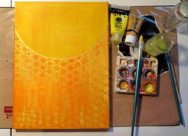 orange and yellow honeycomb background painting