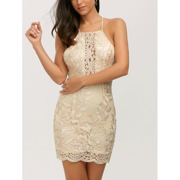 Halter Backless Lurex Bodycon Short Night Out Mini Short Dress - Golden