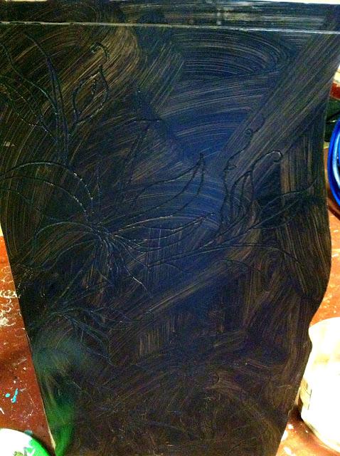 paint wash over dremel carved design