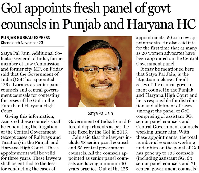 GoI appoints fresh panel govt counsels in Punjab and Haryana HC