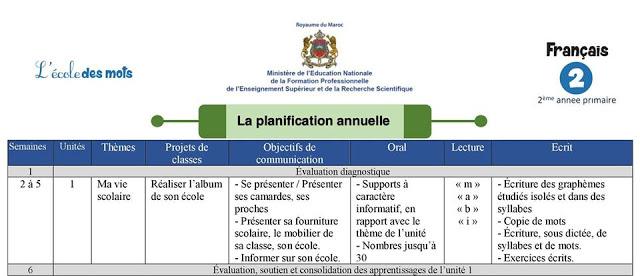 التوزيع السنوي فرنسية  لمرجع l'école des mots للمستوى الثاني ابتدائي