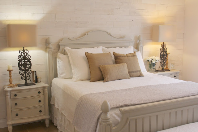 bedroom with Stikwood accent wall and Nordic style in Hello Lovely Studio fixer upper