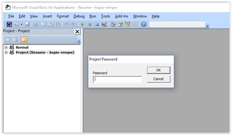 remove password from word document vba