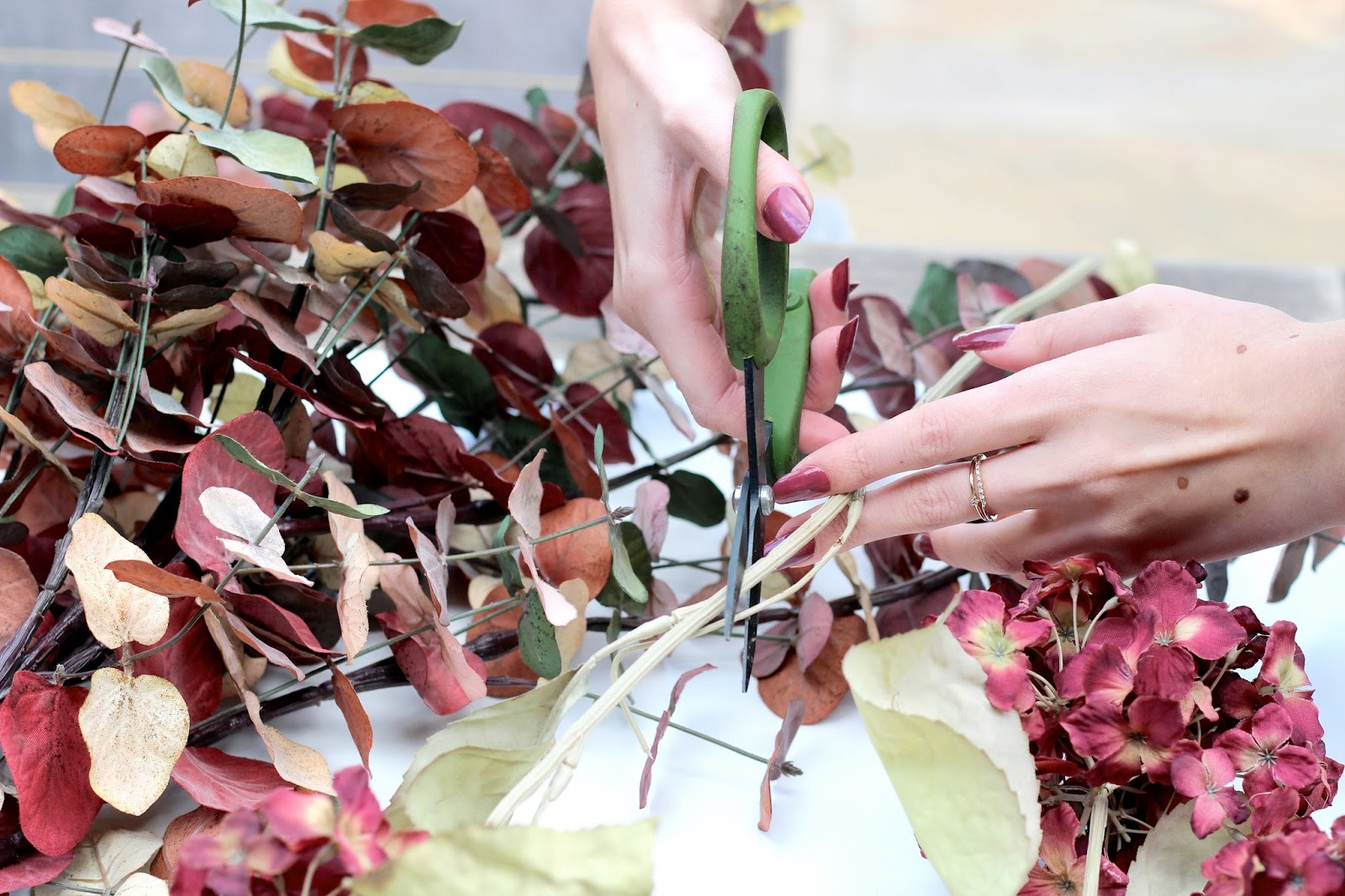 DIY autumn wreath using secateurs wire and more