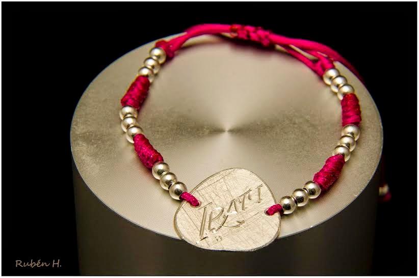 Pulsera de plata chapa con tu nombre nombre artesanal personalizada