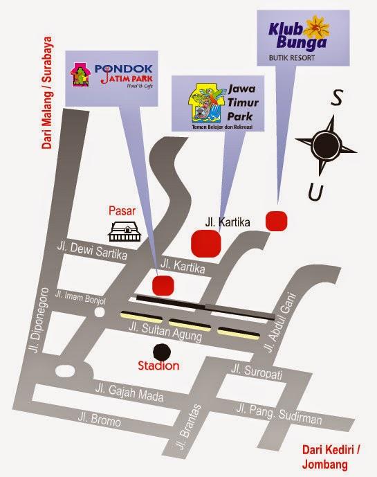 Peta Lokasi Tempat Wisata Jatim Park 1