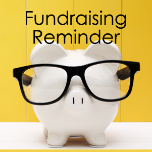 image of a white piggy bank wearing black glasses accompanied by text reading: 'Fundraising Reminder'