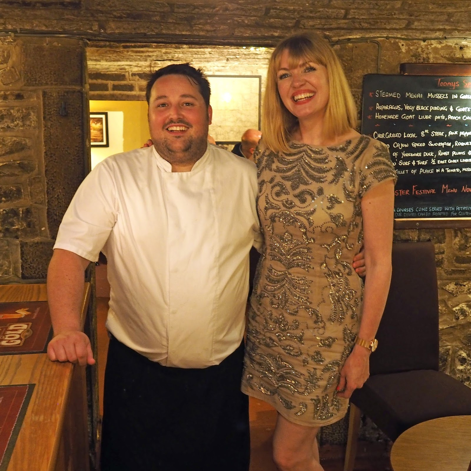 Elizabeth Yeowart with Mark Byron, head chef and owner of Le Caveau, Skipton