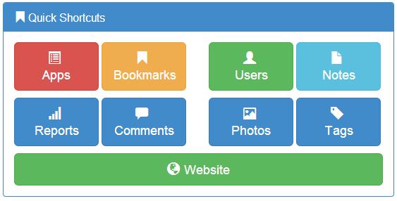 bootstrap admin panel quick shortcuts