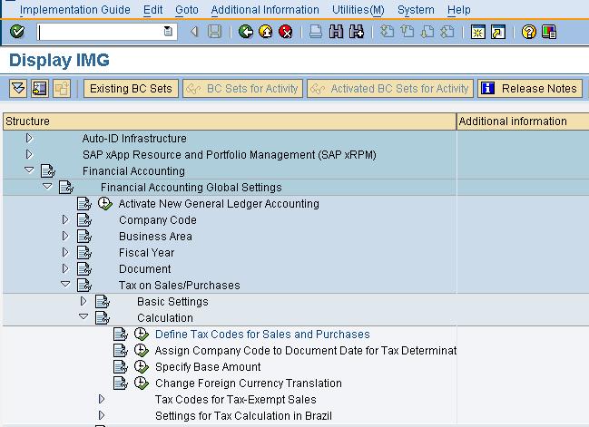 SAP Help Portal: Tax code FTXP