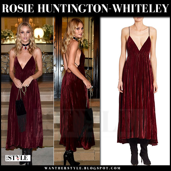 Rosie Huntington-Whiteley in burgundy velvet dress and black boots ralph lauren nyfw front row
