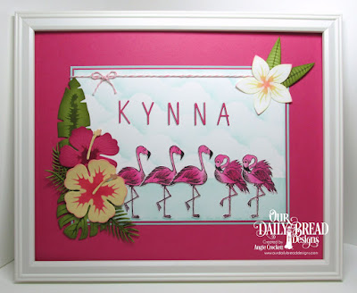 ODBD Tickled Pink, ODBD Custom Flamingos Dies, ODBD Custom Frangipani Dies, ODBD Custom Hibiscus Dies, ODBD Custom Tropical Leaves Dies, ODBD Custom Ferns Dies, ODBD Custom Alphabet Dies, ODBD Custom Clouds and Raindrops Dies, Frame Designed by Angie Crockett
