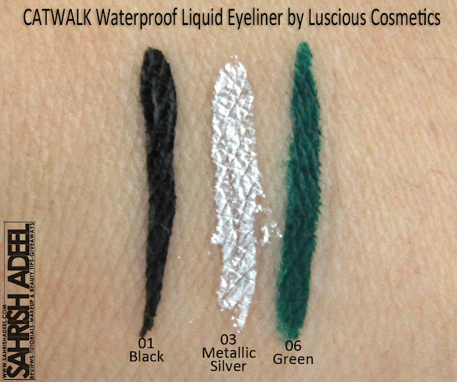 Catwalk Liquid Eye Liners in 'Black, Metallic Silver & Green' by Luscious Cosmetics - Swatches