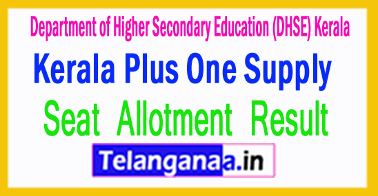 Kerala Plus One Supply Allotment Results 2018