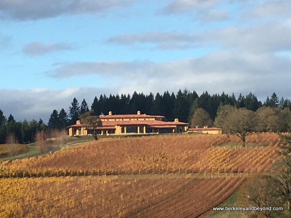 exterior of Domaine Serene in Dayton in Willamette Valley in Oregon