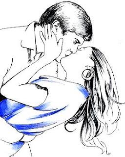 Ilustración de un beso de amor
