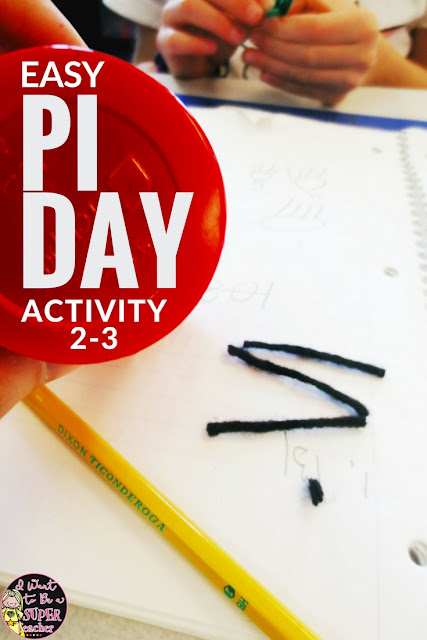 A quick and easy Pi Day activity for elementary students! All you need is yarn. Teachers can use this simple hands-on classroom activity during math, science, or just as a fun quick project to celebrate 3.14 (Pi Day!). A perfect {LOW PREP} activity for learning about how Pi relates to circumference & diameter. This activity will work well in any 2nd, 3rd, 4th, or 5th grade classroom. #education #pi #piday #math