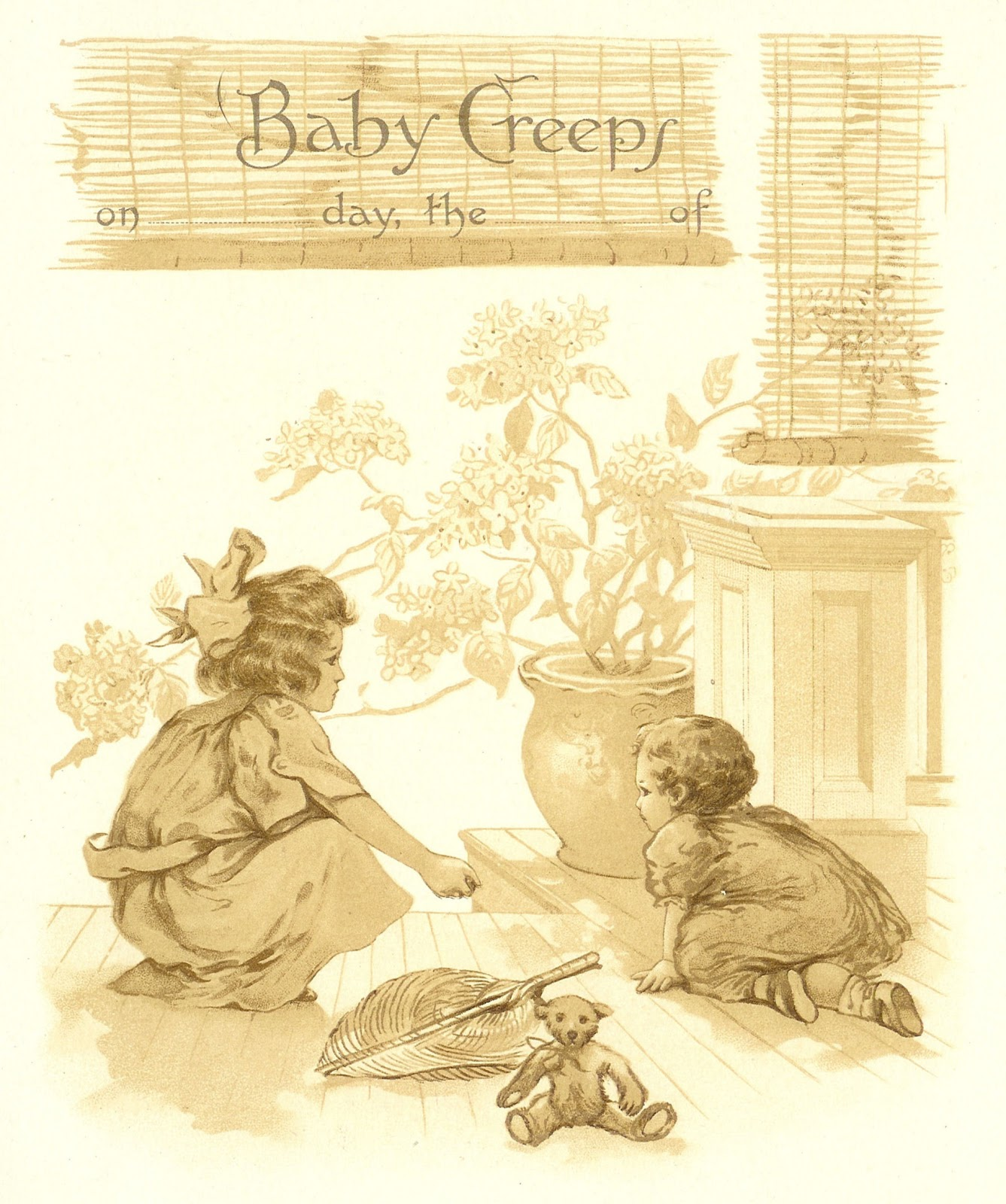 Vintage Baby Clip Art: Page from Vintage Baby Book Recording Crawling