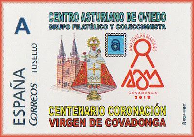 Sello personalizado del Centenario de la Coronación de la Santina en el Centro Asturiano de Oviedo