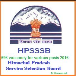 hpsssb 2016 recruitment for 696 posts